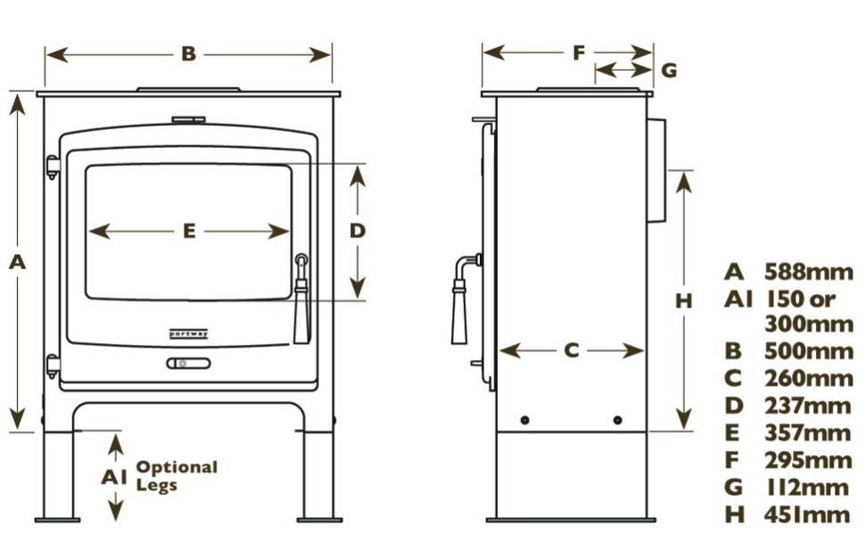 Portway 2 Contemporary stove dimensions