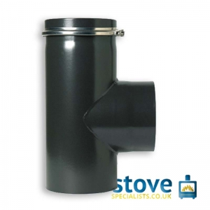 "90 Degree Standard Tee & Cap 5"" VITREOUS Enamelled Flue Pipe"