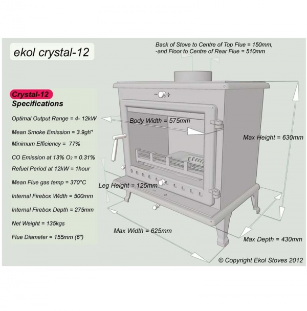 Ekol Crystal 12 woodburning stove 12kw specifications