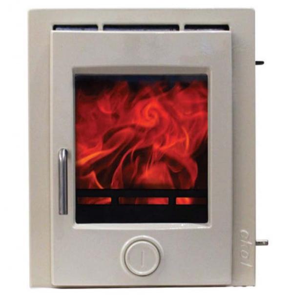 Ekol Inset 8 woodburning stove light ivory enamel