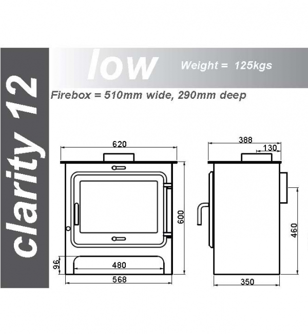 Ekol Clarity 12 woodburning stove low leg dimensions