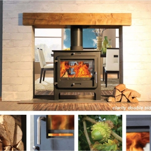 Ekol Clarity double sided woodburning stove low leg model