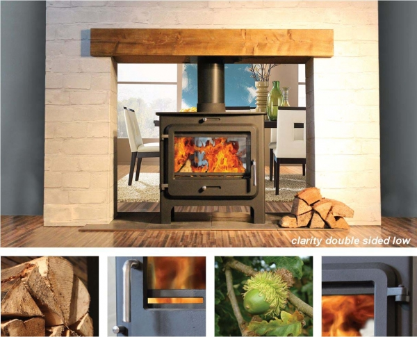 Ekol Clarity double sided woodburning stove low leg model
