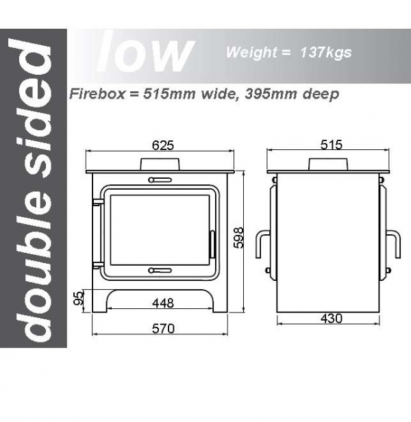 Ekol Clarity double sided woodburning stove low leg dimensions
