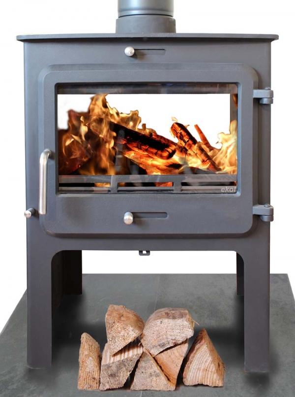 Ekol Clarity double sided woodburning stove high leg model