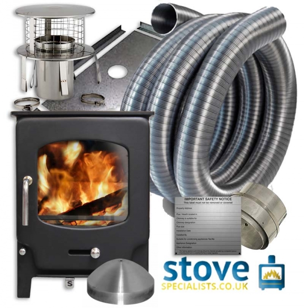 Saltfire ST-X5 5kW Multi fuel Wood burning Stove with installation kit