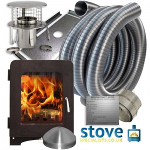 Saltfire ST2 5kW Multi fuel Woodburning Stove with installation kit