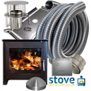 Saltfire ST3 Multi fuel Woodburning Stove 7kw with installation kit