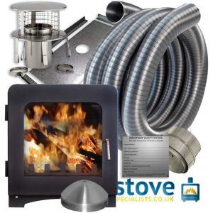 Saltfire ST4 7.5kW Multi fuel Wood burning Stove with installation kit