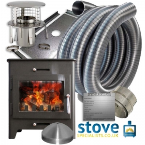 Saltfire ST1 5kw Wood burning Stove with installation kit