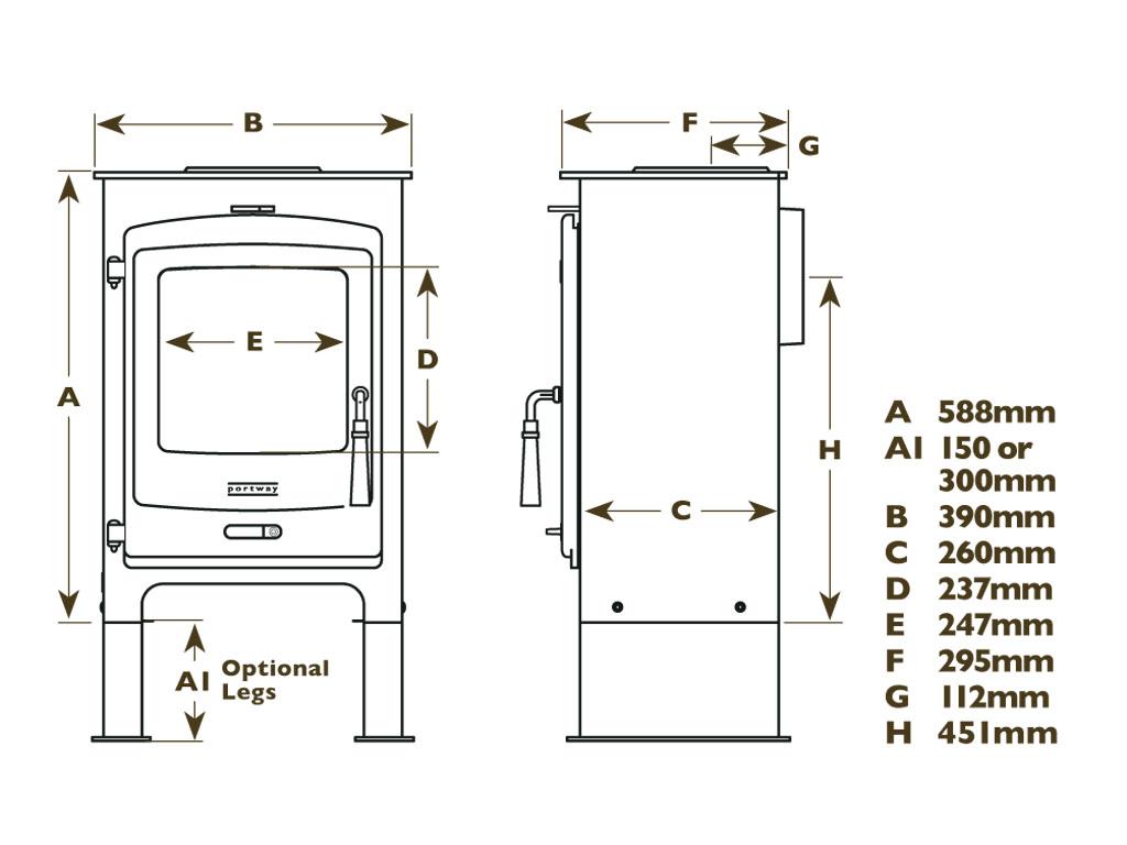 portway 1 contemporary multifuel dimensions