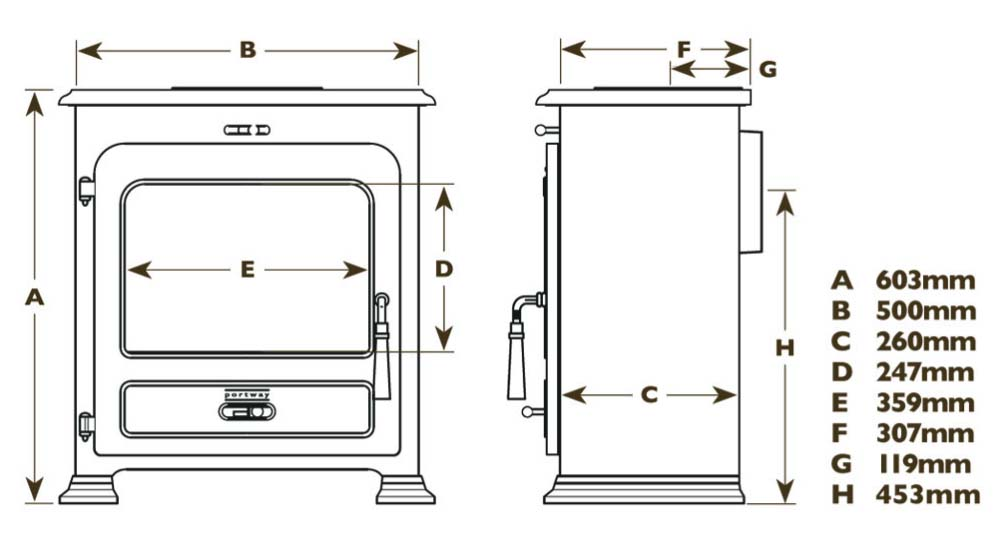 portway 2 traditional stove dimensions