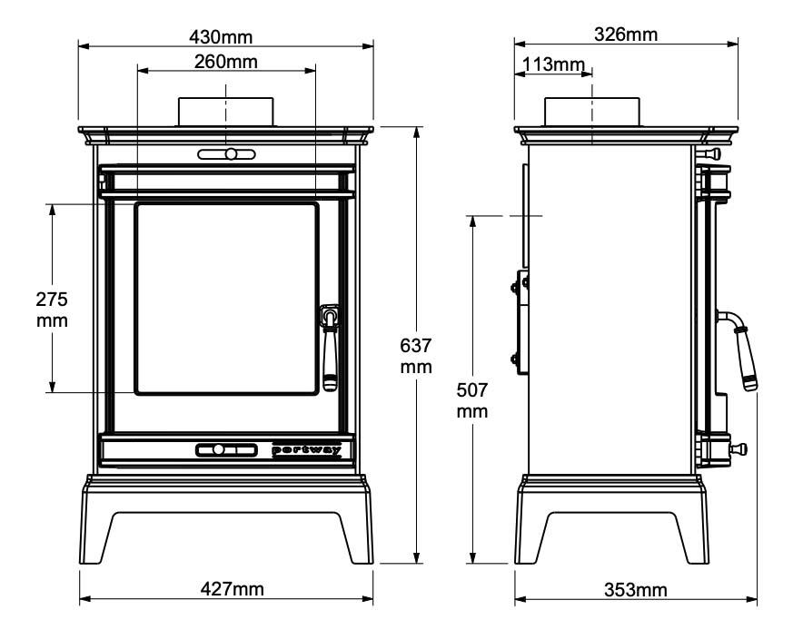 portway rochester 5 stove dimensions