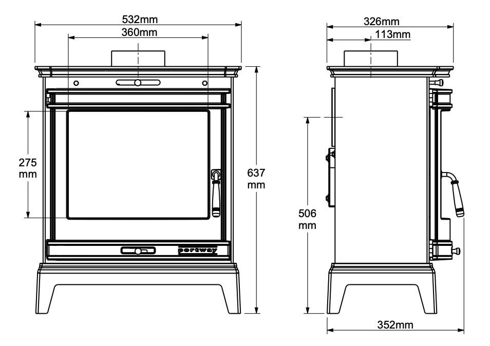 portway rochester 7 stove dimensions