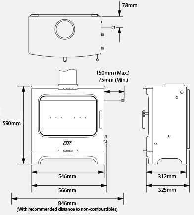 175 F woodburner stove dimensions