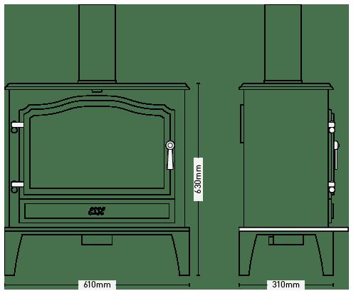 ESSE 100SE Stove dimensions