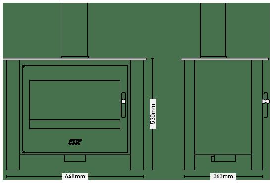 ESSE 125 Stove dimensions