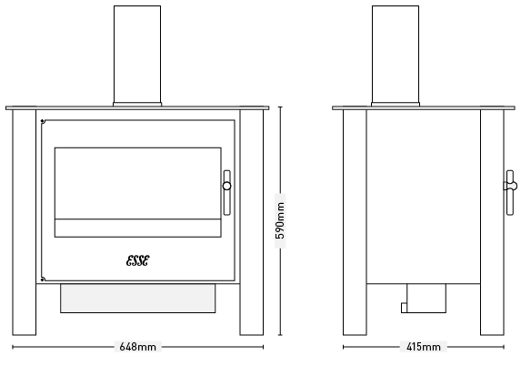 ESSE 225 XK Contemporary Stove dimensions