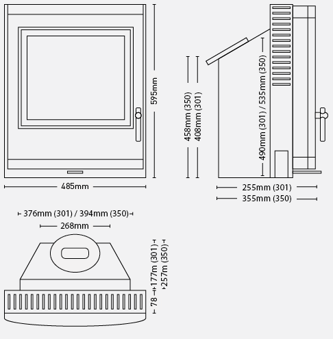ESSE 300 Inset Stoves Dimensions