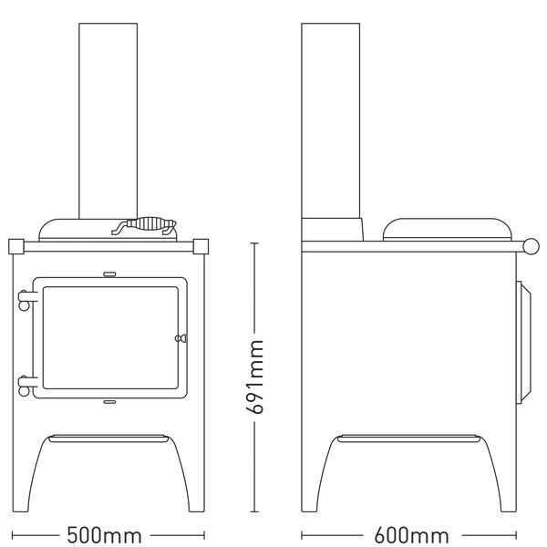 Esse Warmheart cook stove dimensions
